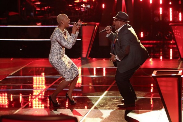 "THE VOICE -- ""Battle Round 2"" Episode 612 -- Pictured: (l-r) Sisaundra Lewis, Biff Gore -- (Photo by: Tyler Golden/NBC)"