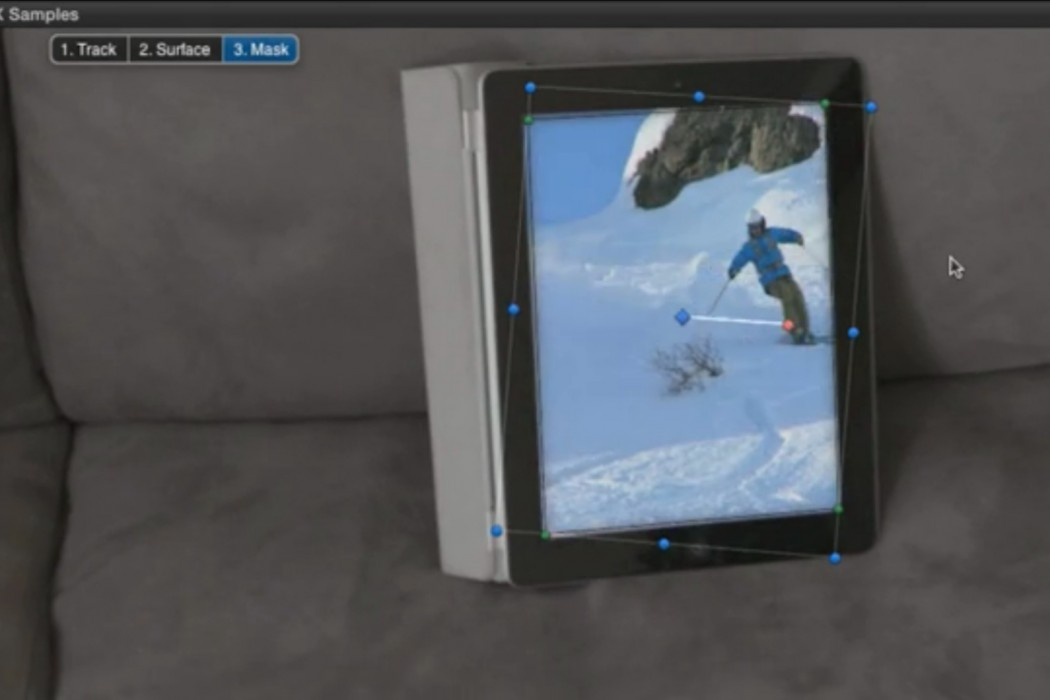 Screen layer the skier footage to the iPad.