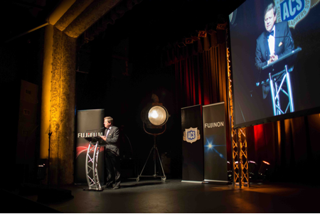 Ray Martin MC-ing at the 43rd ACS National Awards for Cinematography (photographer Bryan Crawford)