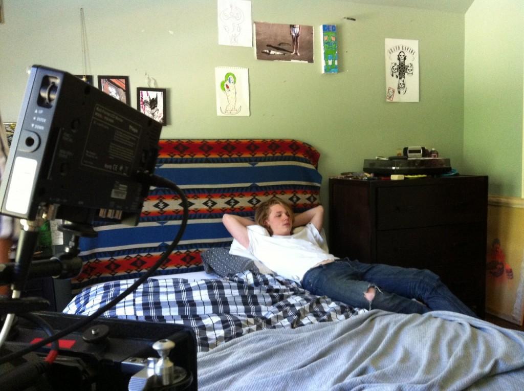 Jack Kilmer on the set of 'Palo Alto'