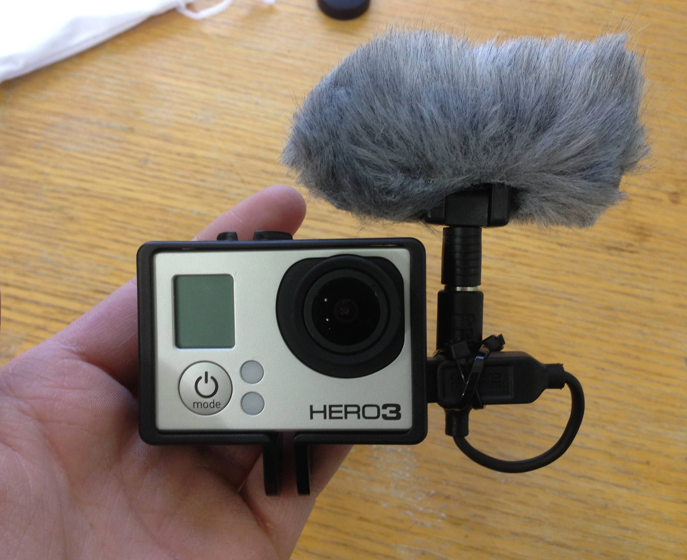 GoPro sporting the Polar Pro mic (pic from reddit user hankuti)