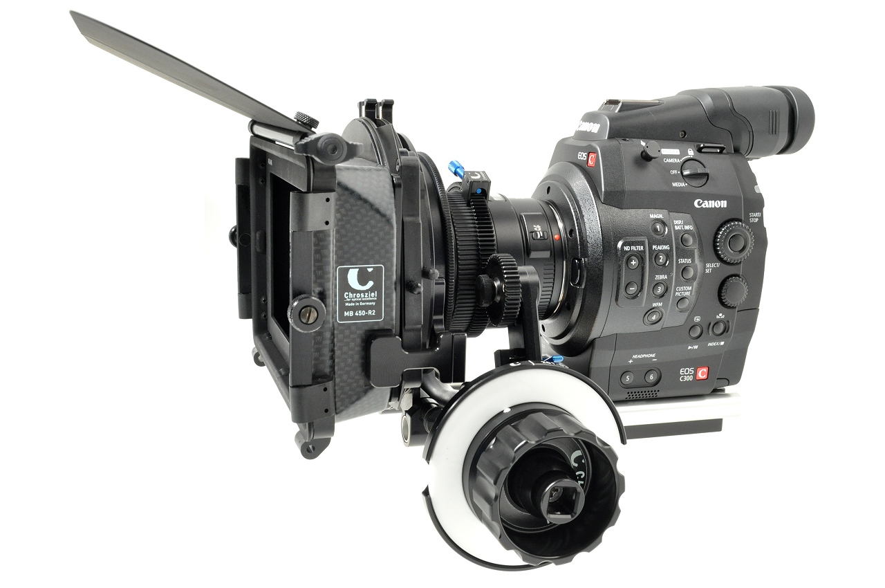 Canon Cinema EOS C300 with Chrosziel Studio Rig Cine 204-01, the 401-94 LWS, and 201-22 Focus Drive