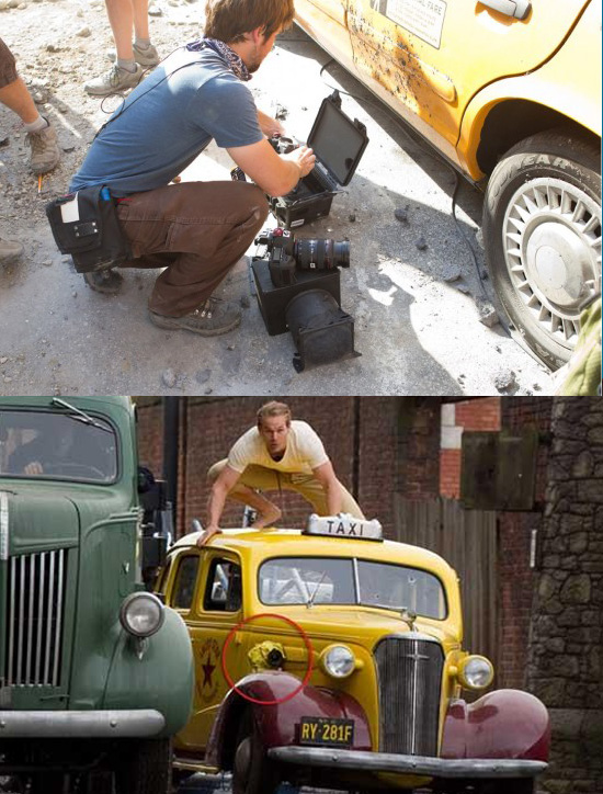 Second-Unit DP Jonathan Taylor attaches a Canon 5D MKII to a taxi for an action scene in 'Captain America: The First Avenger' (image: Canon)