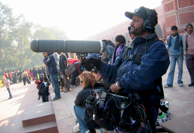 Sound Recordist Shalini Agarwal on-set of 'Slumdog Millionaire'