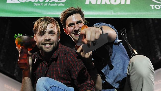Tropfest 2013, Centennial Park. Winners Matt Hardy (Director/Actor) and Aaron Tsindos (actor) (Image: Simon Bullard ).