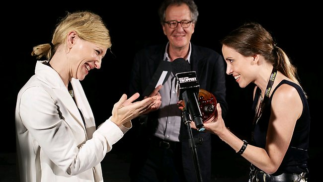 Tropfest winner Alethea Jones being presented with her award by Cate Blanchett for her movie 'Lemonade Stand' (Image: Getty Images).
