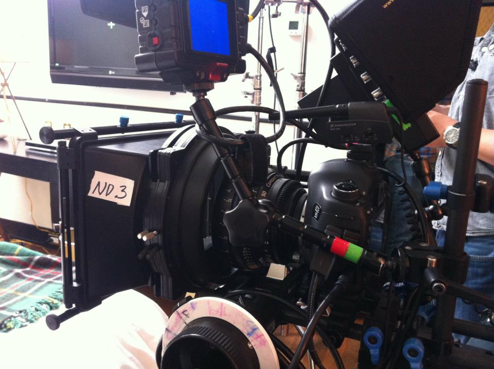 On the set of 'Anchors', DP David Cavallo shot with this rig: the MKIII body, EP's customized Red Rock 15mm studio rod system, matte box and handheld system and an Arri FF4 follow focus. Last but not least, we conjured a sweet set of 4 Zeiss CP2 primes (35mm, 50mm, 85mm, 100mm.) (image: David Cavallo).