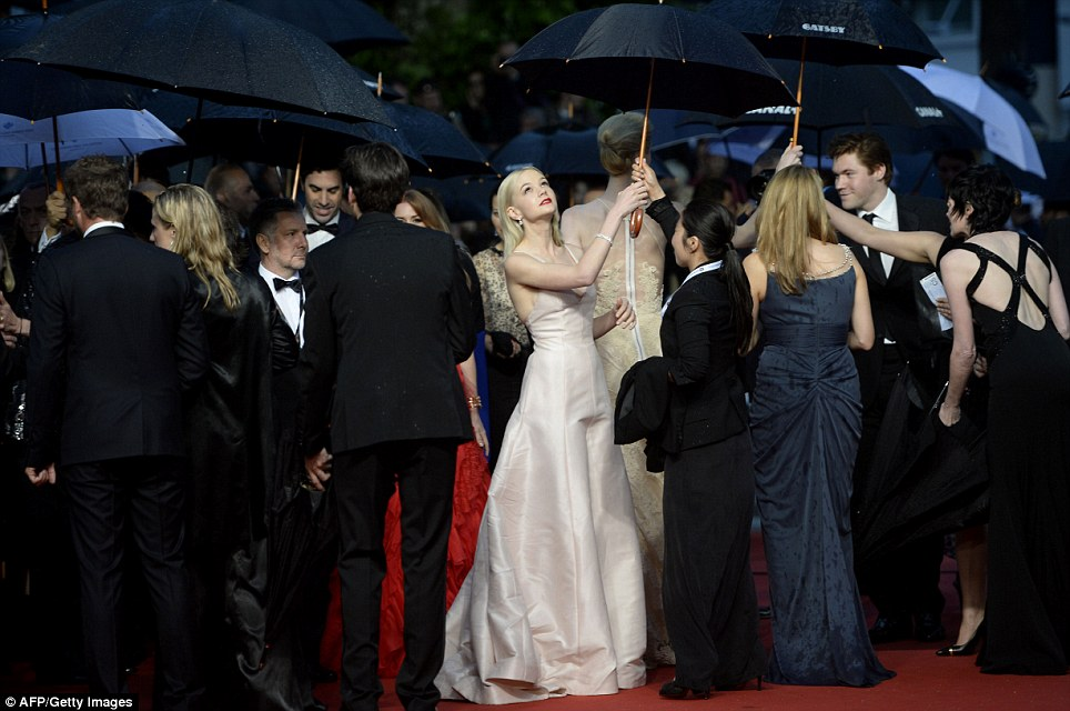 Actor Carey Mulligan avoids the big wet (image: Getty Images).