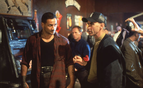 Temuera Morrison and Lee Tamahori on set of 'Once Were Warriors' (image: supplied).