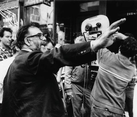 Director Francis Ford Coppola advises his film crew as they set up to shoot a scene during the filming of the movie Godfather III in the Little Italy section of New York on Saturday, May 19, 1990. The crew had just arrived from filming on location in Italy. (AP Photo/Gene Page)