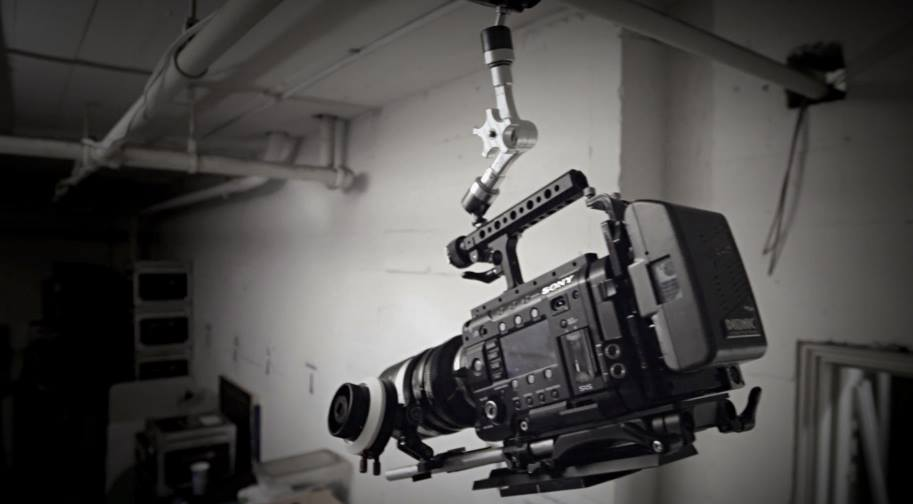 Infinity Arm holding up a Sony F55 to get a high angled shot