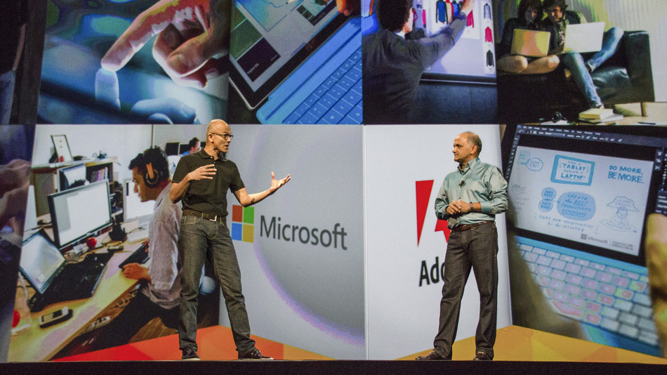 Microsoft CEO Satya Nadella joined Adobe president and CEO Shantanu Narayen as a surprise guest during yesterday's keynote presentation of Project Animal.(image: Flickr/Adobe)