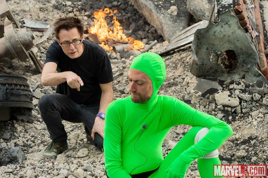 James Gunn directing his brother brother Sean Gunn filling in for the CGI Rocket in Marvel's 'Guardians of the Galaxy' (image: Marvel)