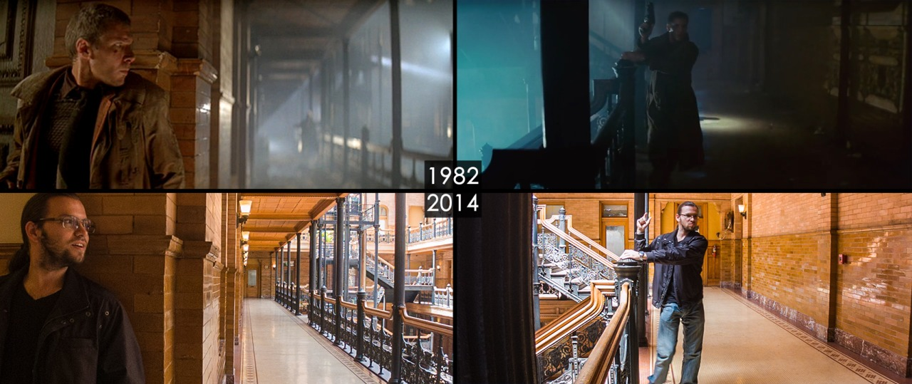 """""""Final scene with Harrison Ford from one of my favorite sci-fi/noir movies """"Blade Runner"""". The interior of the Bradbury building looks absolutely amazing."""" (image: datscene.tumblr.com)."""