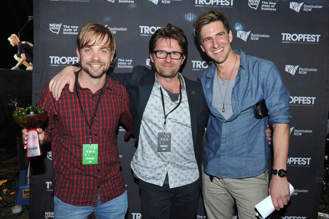 Tropfest director John Polson with Tropfest 2013, Winners Matt Hardy and Aaron Tsindos.