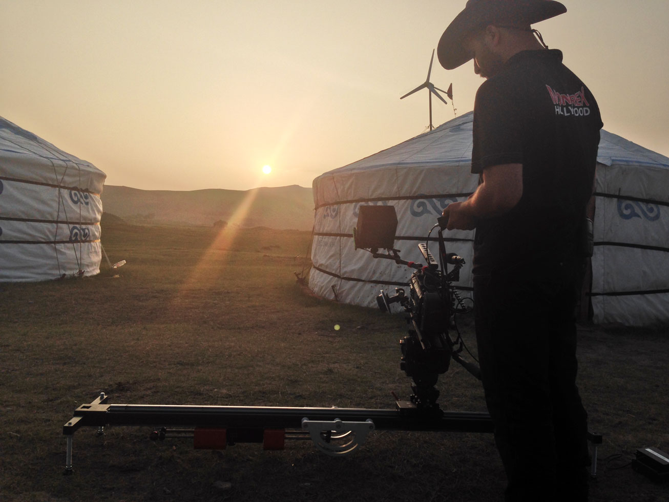 Using the Floatcam DC Slider on th set of 'Khan' (image: Supplied).