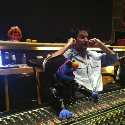 Beau Borders getting some help from Gonzo and Animal whilst mixing 'The Muppet Movie' (image: © Disney).