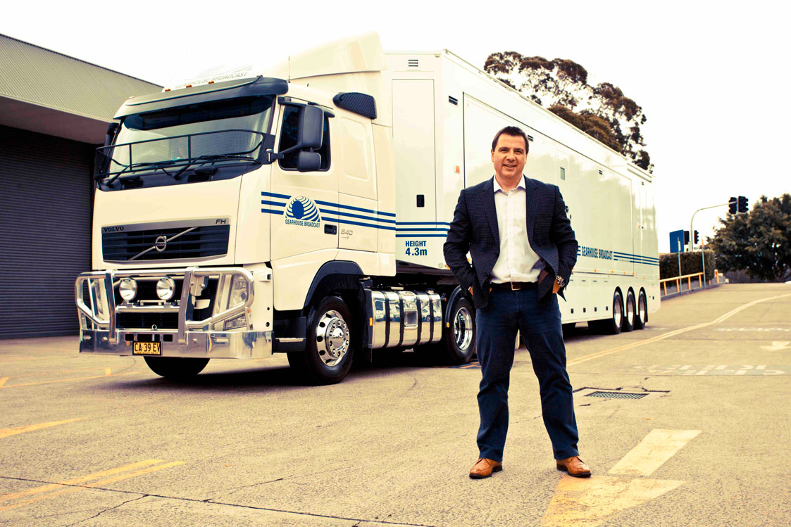 Gearhouse Broadcast owner John Newton with the company's new and Australia's first native 4K super truck, HD8.