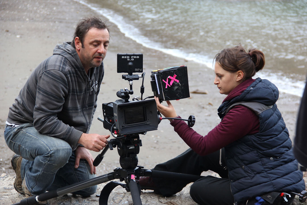 On the set of 'Monochrome' with lead camera operator John Charalambous and focus puller Lauren Hatchard