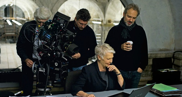 Sam Mendes on the set of 'Skyfall' with actor Judi Dench and DP Roger Deakin (image: courtesy Sony Pictures).