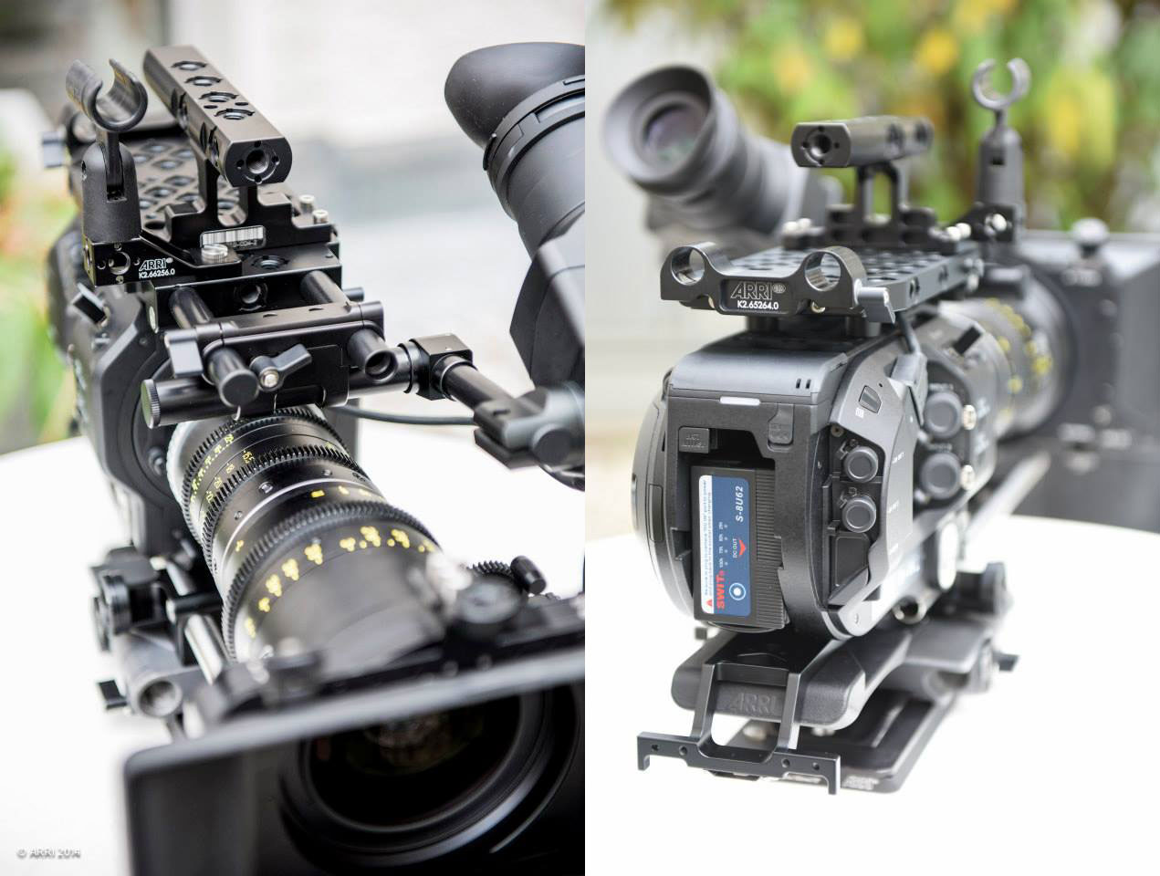 R) Attach a microphone holder by using the microphone bracket. The top handle CCH-1 can be mounted in four different positions, or use the original Sony FS7 top handle with the Arri PCA top plate. L)15mm LWS rod console attached to the back of the Arri PCA top plate