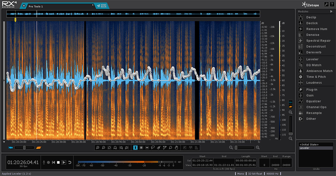 iZotope RX4 showing clip gain.