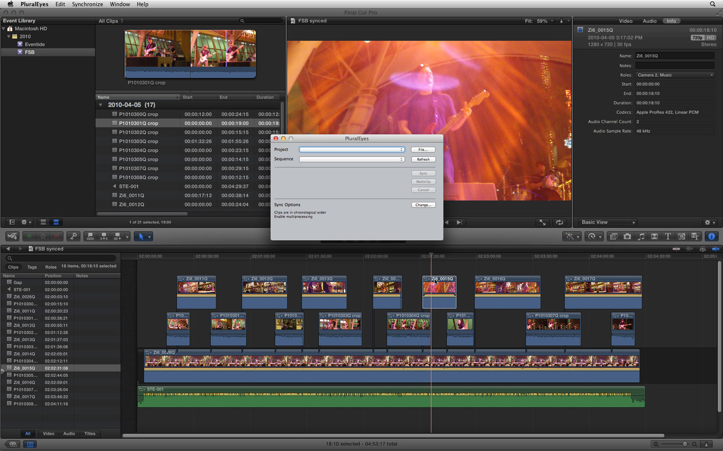 MultiCam in PluralEyes 3.5