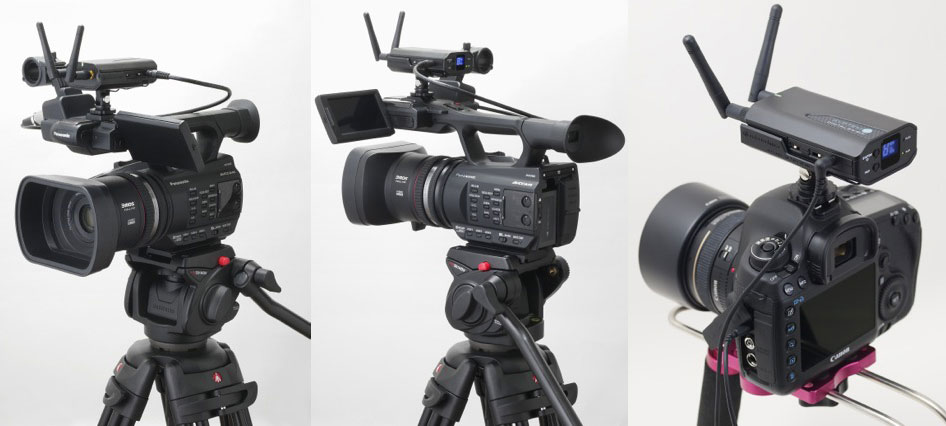 System 10 mounted to Panasonic camcorders and Canon DSLR