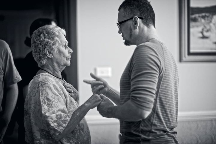Liam Worthington directing Jan Langford-Penny on the set of 'One Less God' (image: Nelson Lau).