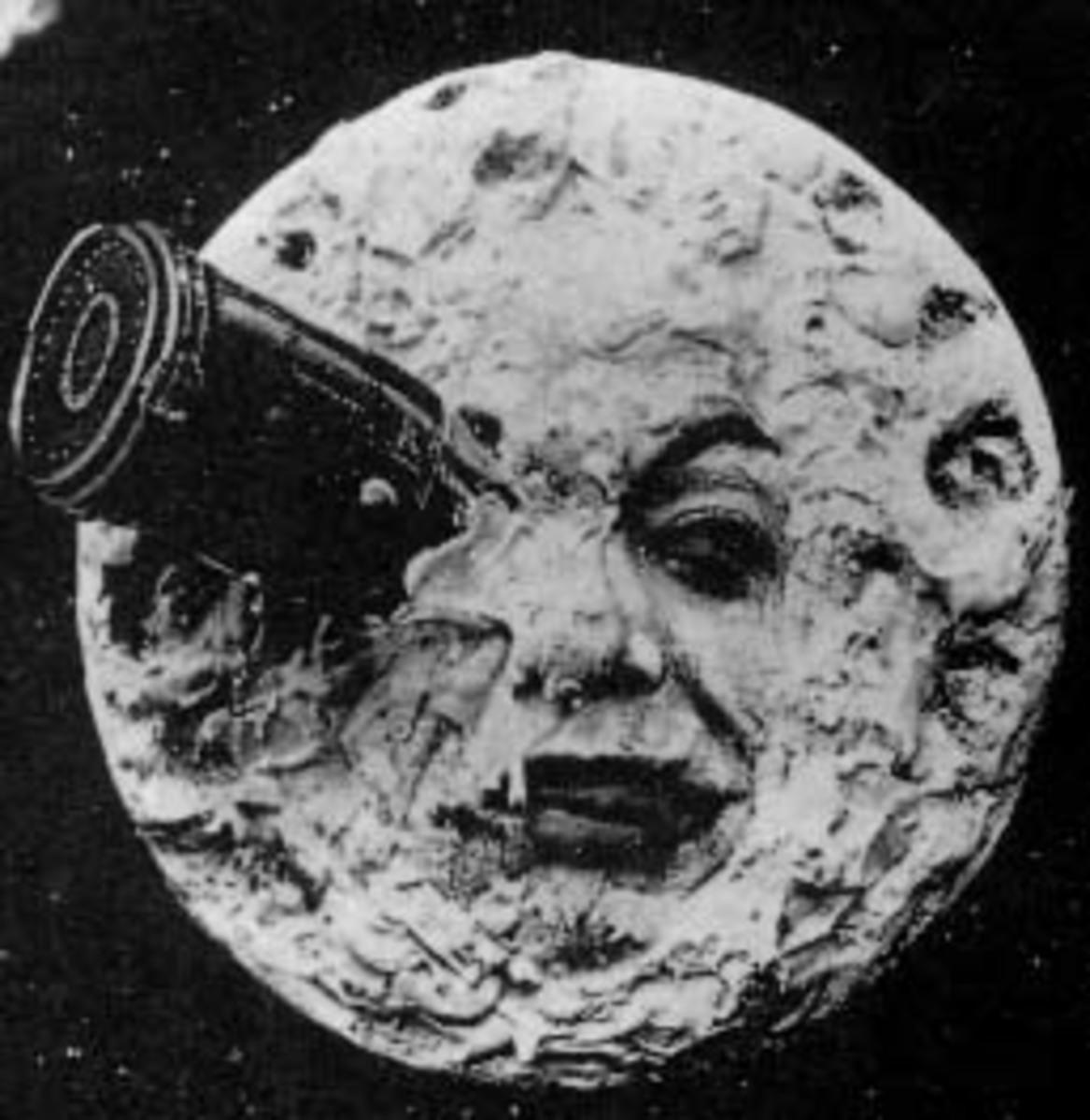 Iconic scene from Le Voyage dans la Lune (image: public domain).