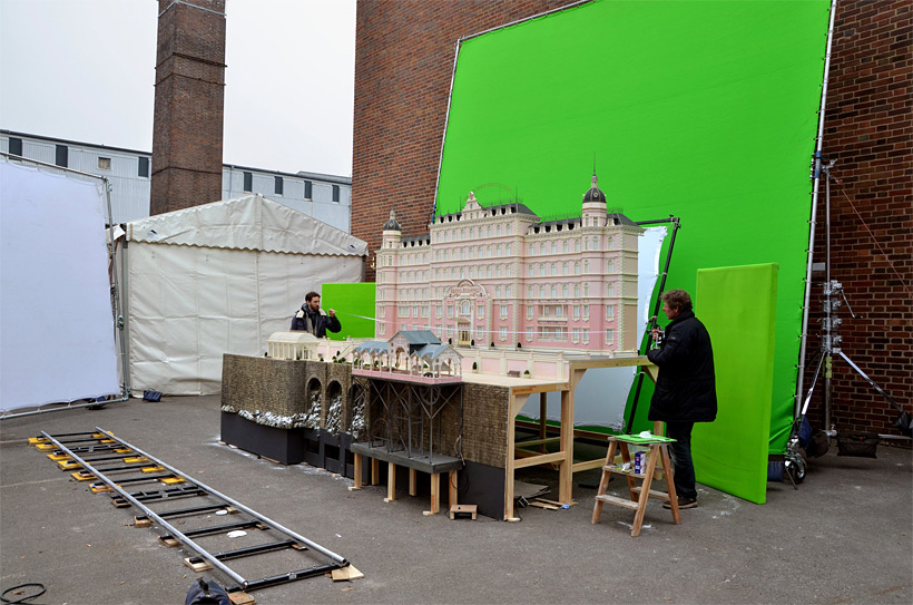 Exterior set of the Grand Budapest Hotel. The model itself is 4.2 meters long (14 feet) and 2.1 metres (7 feet) wide (image: courtesy of Fox Searchlight Pictures).