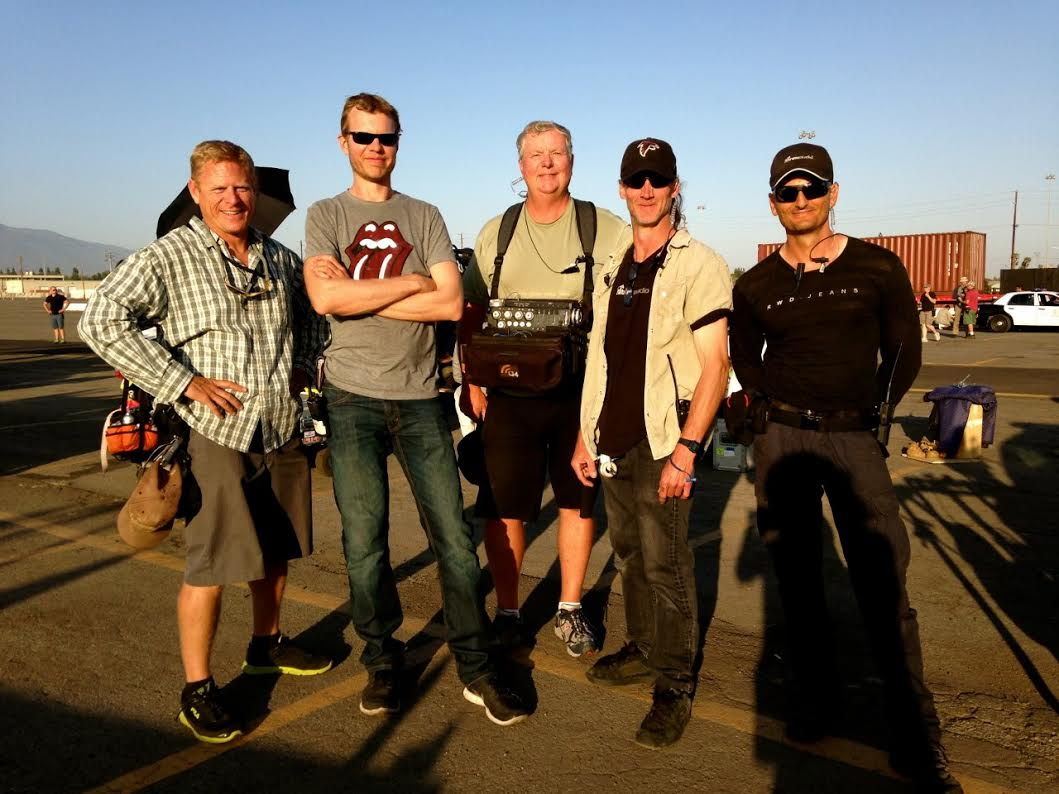 Bucher and the rest of the sound crew on the set of Taken 3.
