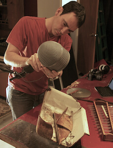 Andrew lackey using his favourite sound design tool: the microphone (image: PSE Blog).