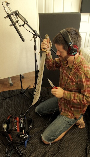 "Michael O'Connor recording sword foley for the short film ""Spirit Town"" (image: PSE Blog)."