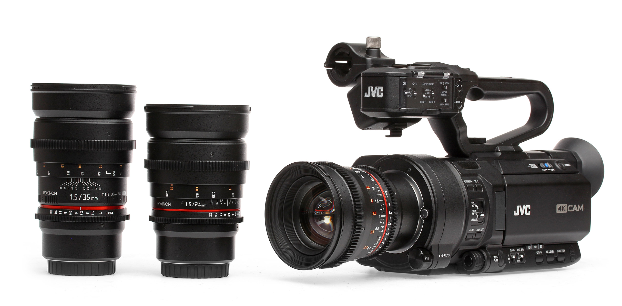 The GY-LS300CHE pictured with Rokinon lenses