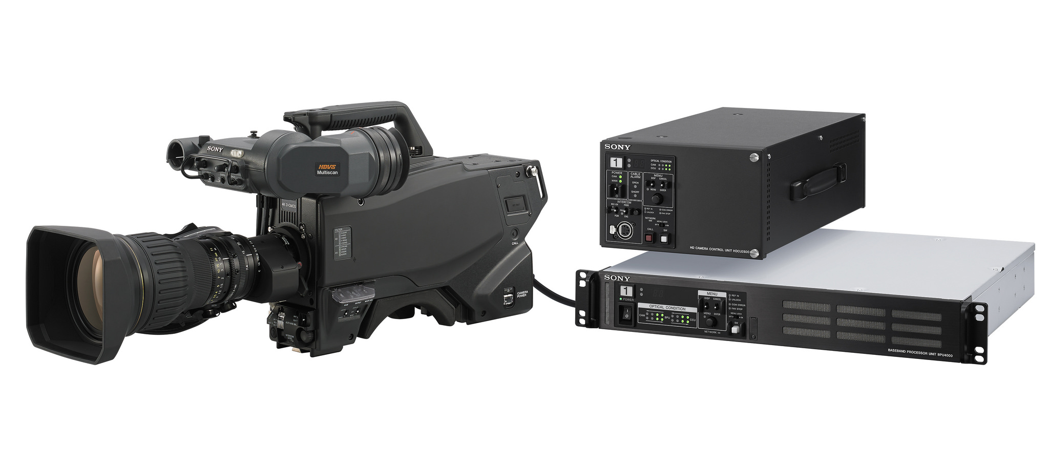 4K Live Camera System: from left, Sony's new HDC-4300 with the BPU-4000 (top) and HDCU-2000 (bottom).