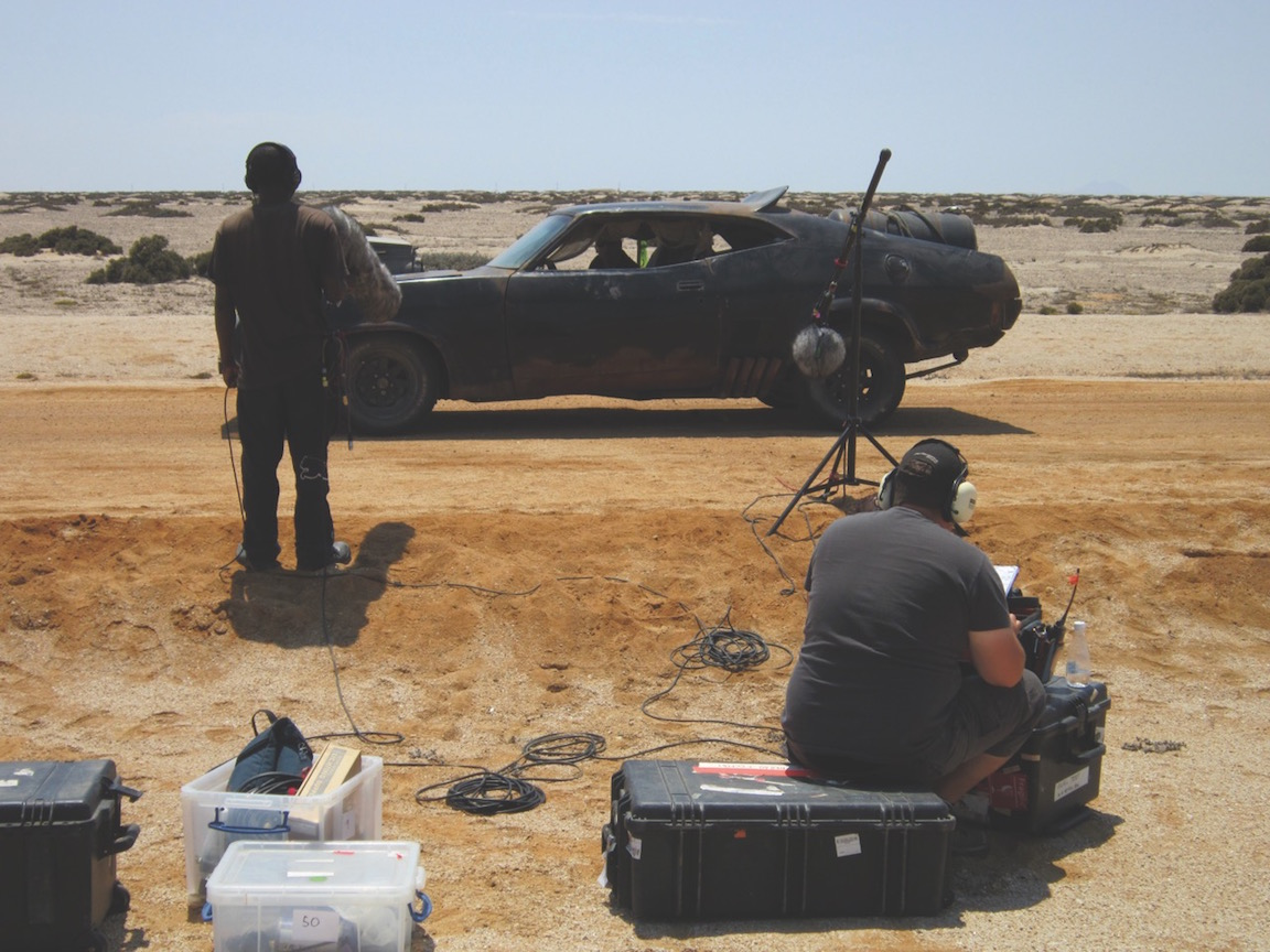 Ben Osmo's assistant Oliver Machin spent weeks making 'wild' recording of the Fury Road vehicles including the Max's Ford Falcon XB GT. Other location sound recording was done by the 'Action Unit' led by Derek Mansfelt.