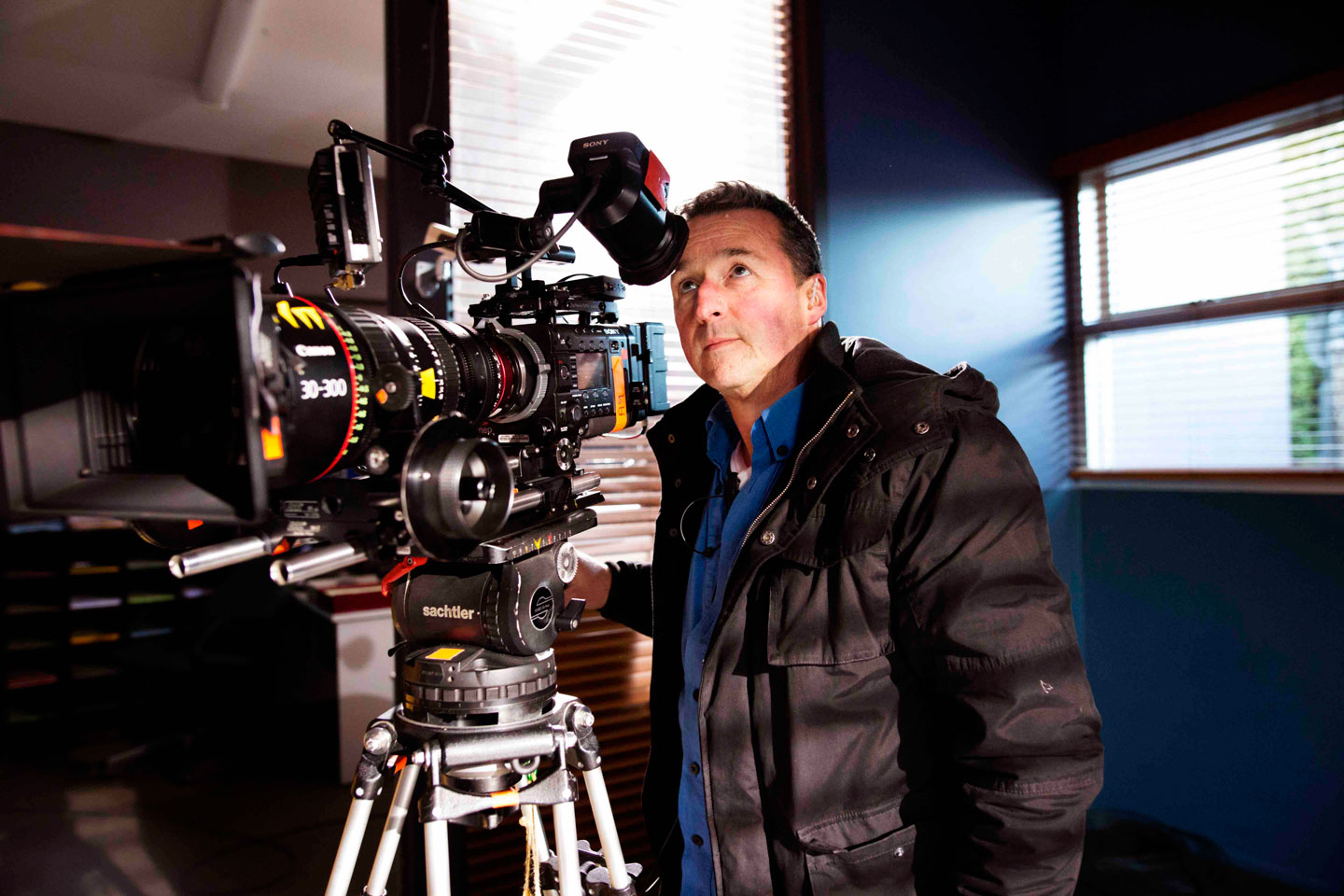Neighbours DOP Steve Scoble and the F55 camera on the set of Neighbours (image: supplied).