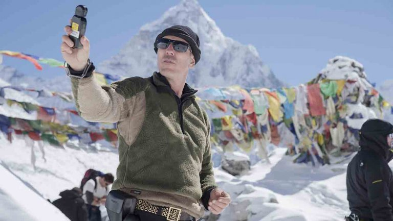 DP Salvatore Totino using a light meter on the set of 'Everest' (image: Universal Pictures)