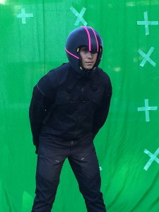 Actor Madison Smith wearing the 3D-printed helmet during green screen shooting on Post Human image: supplied).