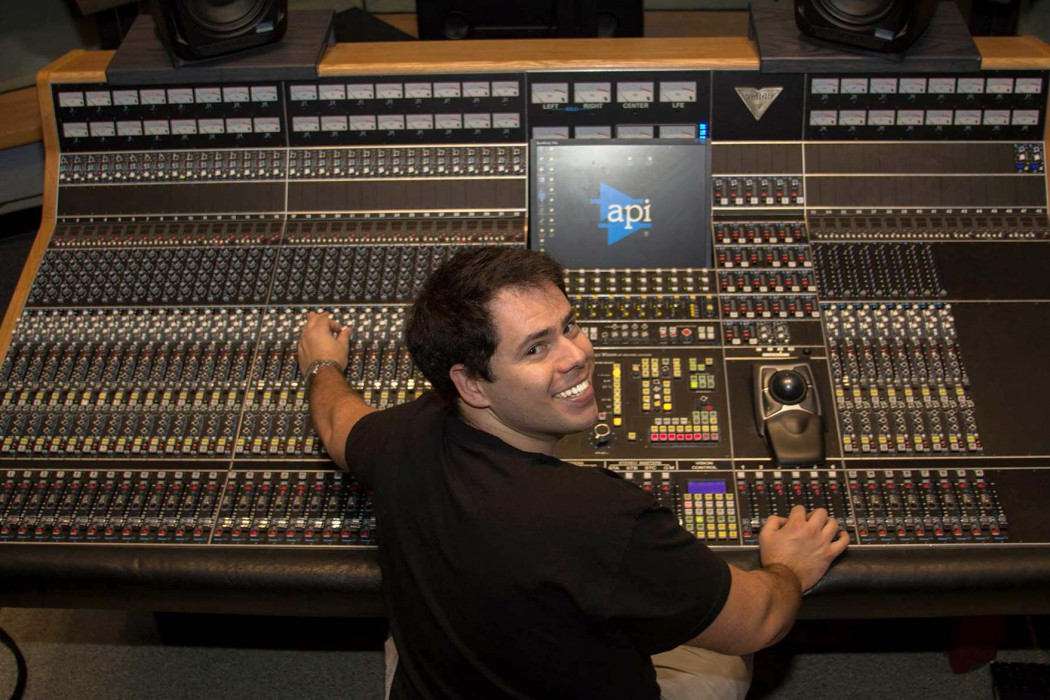 API Visionary Scholarship winner Gibran Sponchiado working with the Vision console in Studio B at Middle Tennessee State University, Murfreesboro, TN.