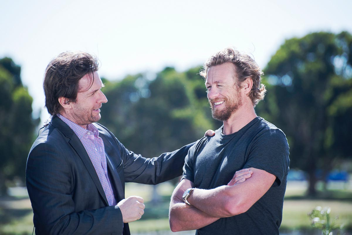 John Polson and celebrity judge Simon Baker share a relieved smile at the news Tropfest would be going ahead (image: Supplied).