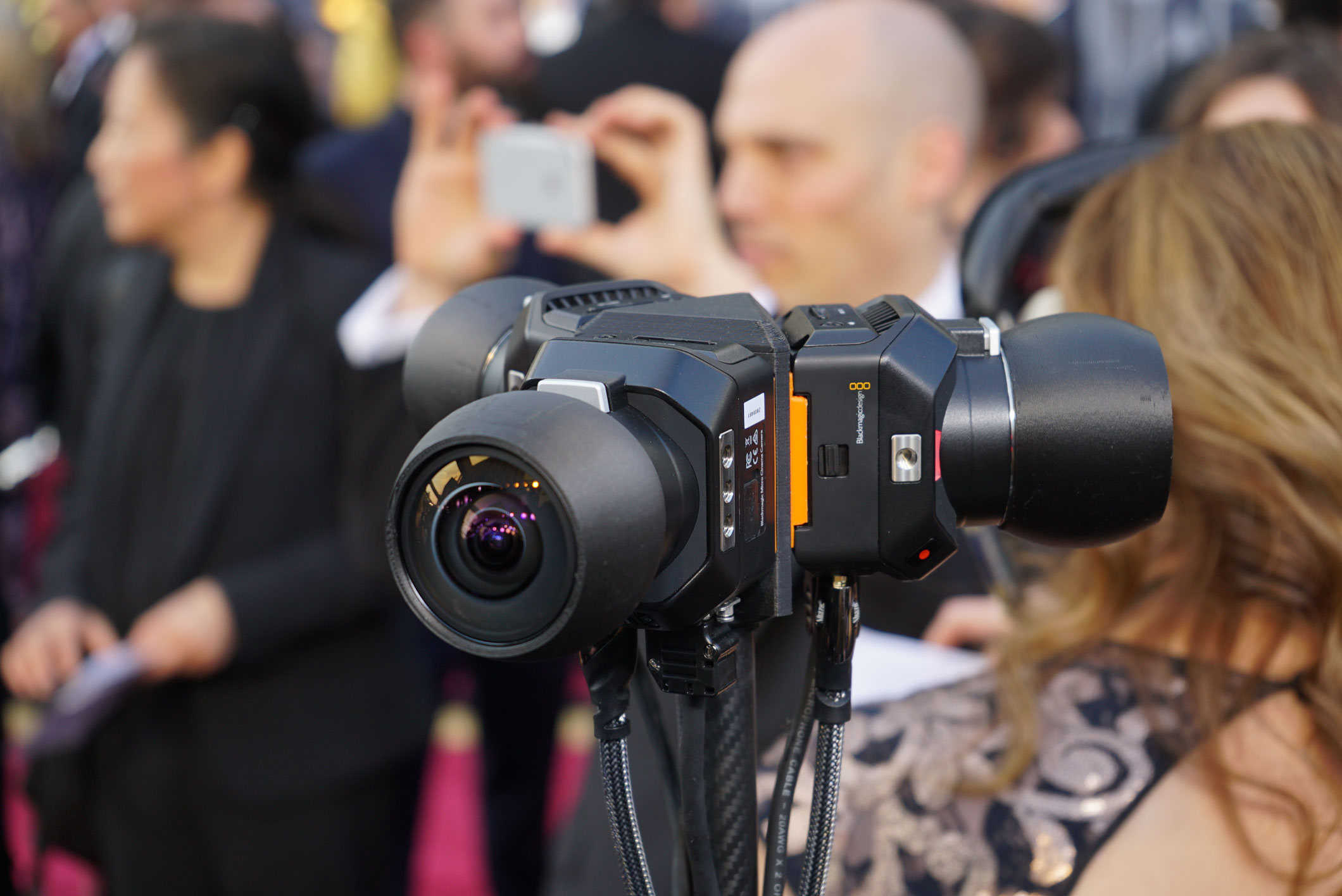 The Blackmagic Design Micro Cinema Camera in action at the 2016 Oscars red carpet.