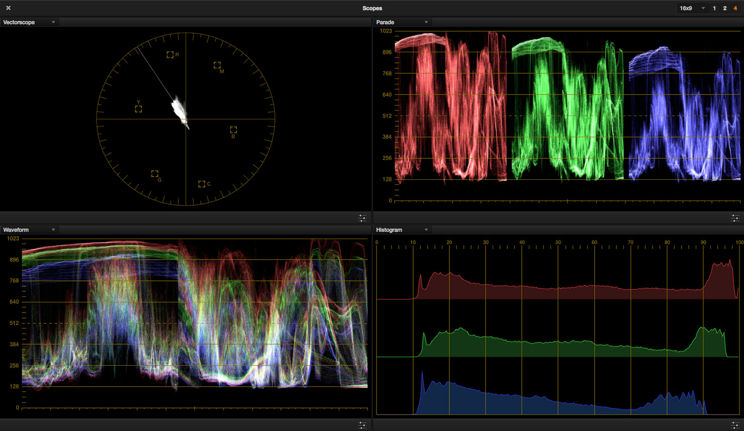 Scopes in DaVinci Resolve.