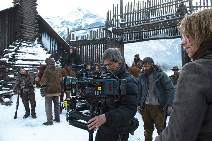 Production Camera Operator, P. Scott Sakamoto, SOC shooting at the fort with Leo DiCapria and Domhnall Gleeson (image: Kimberly French).