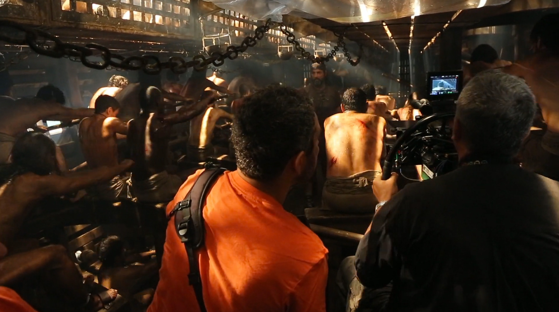 On the set of the galley slave ship, where Ben Hur gains his muscles.