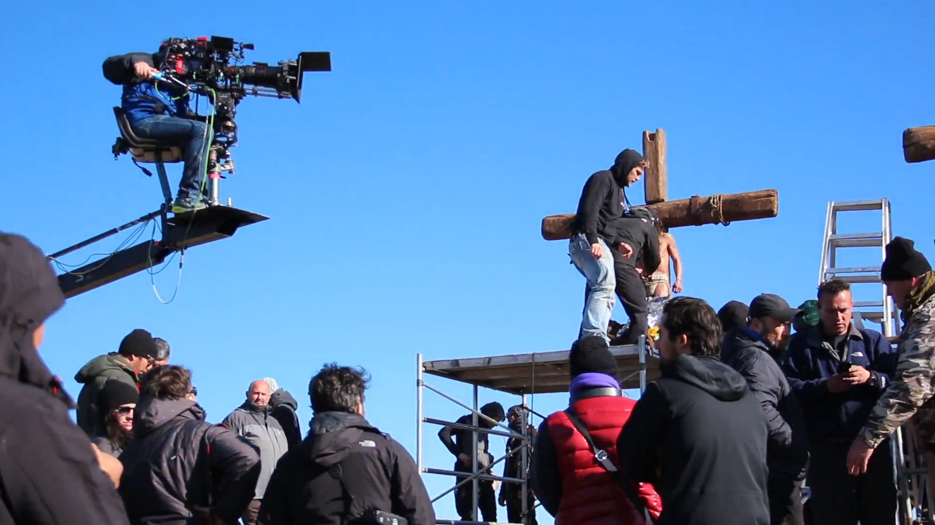 Shooting the crucifixion scene on the set of Paramount Pictures 'Ben Hur'.