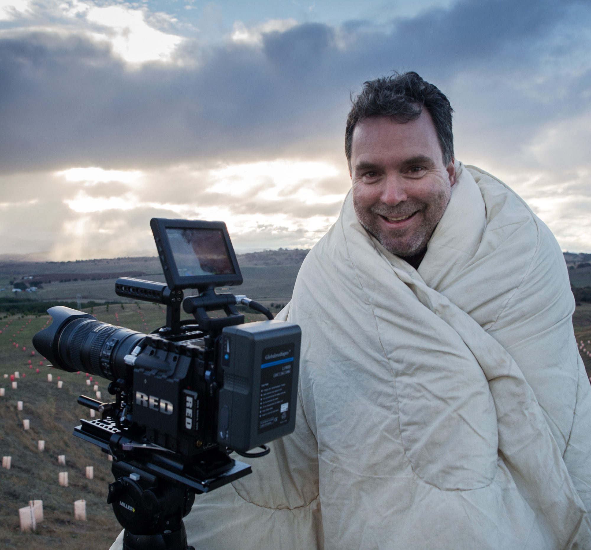 Glen Ryan, trying to keep warm whilst shooting the doco.