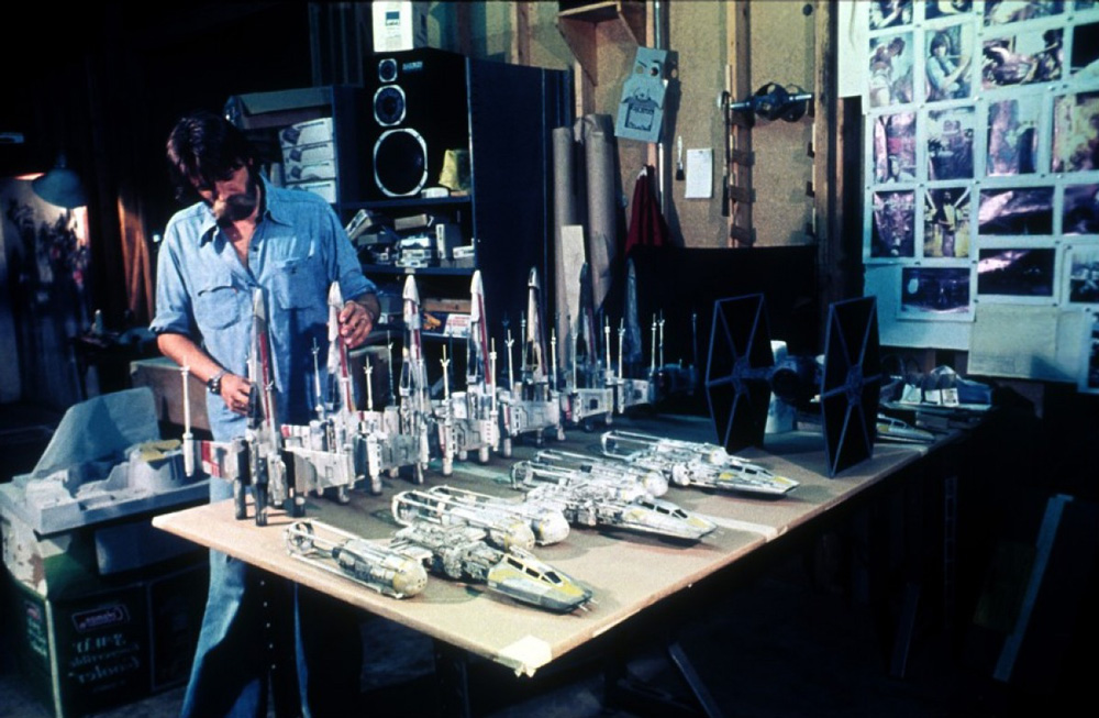 John Dykstra building a fleet of miniature TIE, X-wing and Y-wing fighters (image: LucasFilm).