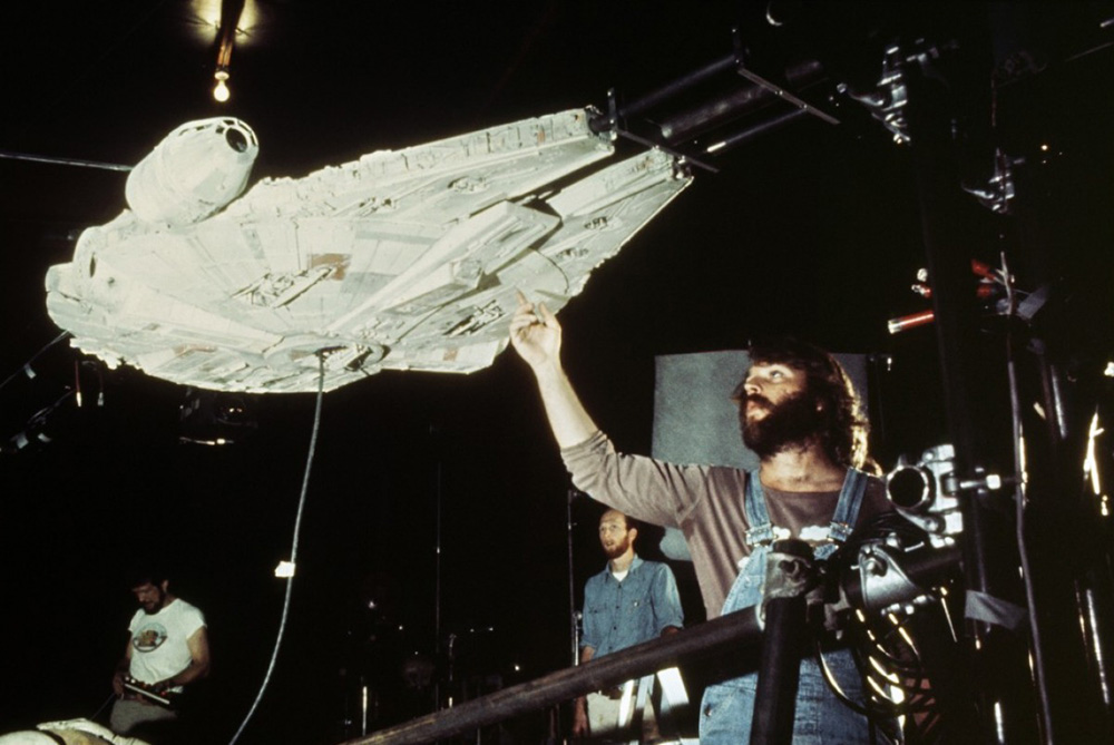 John Dykstra adjusting the Millennium Falcon (image: LucasFilm).